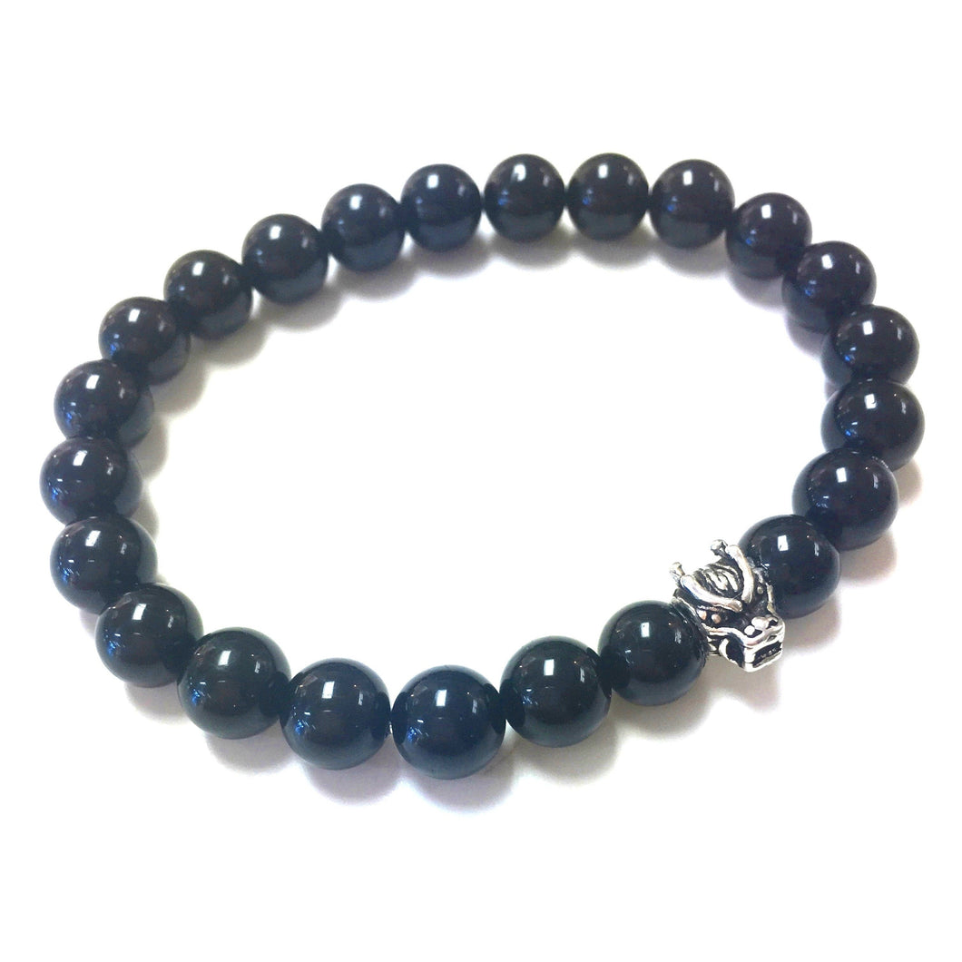 Men's Black Tourmaline Bracelet with cool Dragon Head!