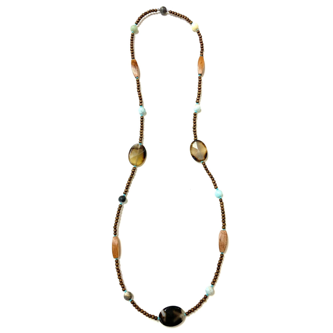 Sustainable Boho Wooden Necklace With Amazonite!