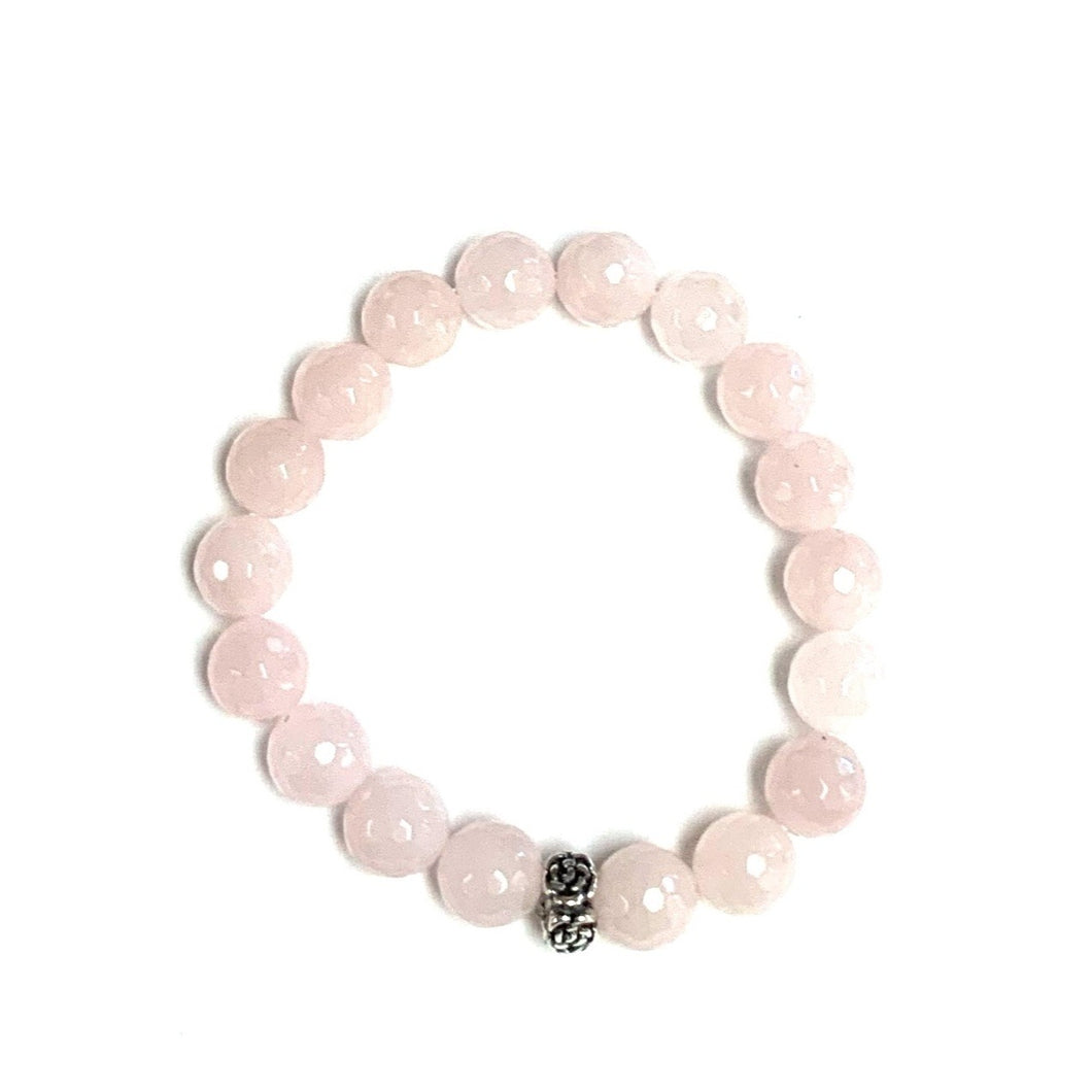 BZen Rose Quartz Bracelet with Sterling Silver With Floral Ring!