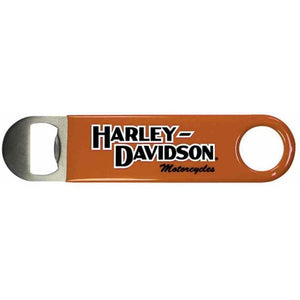 Harley-Davidson™ Bottle Opener, H-D Script Stainless Steel & Orange Vinyl