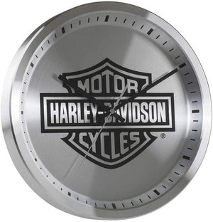 Harley-Davidson Core Metal Chrome Bar & Shield Logo Clock, 12 inch HDX-99106