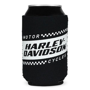 Harley-Davidson Ignition Race Flag Neoprene Can Flat Wrap, Black & White CF33488