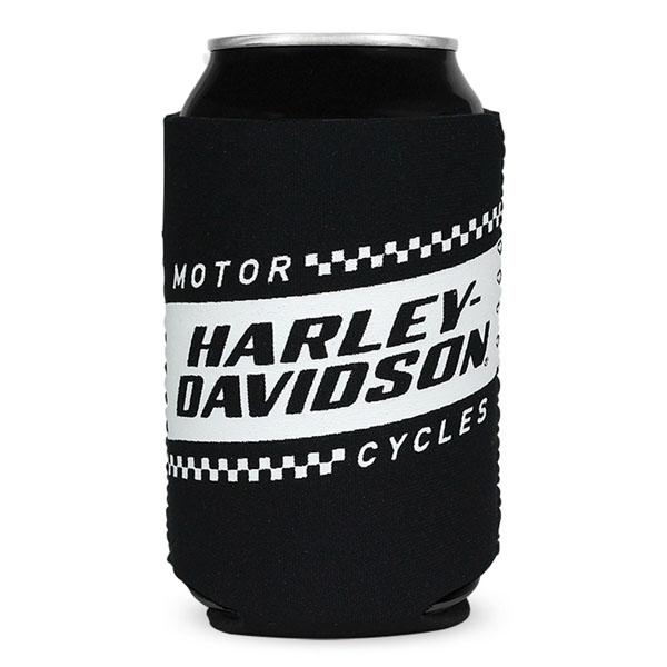 Harley-Davidson® Ignition Race Flag Neoprene Can Flat Wrap, Black & White CF33488