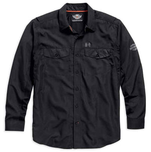 Harley-Davidson Long Sleeve Performance Button Shirt, Black. 99018-15VM