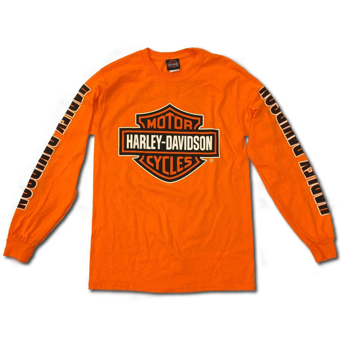 Harley-Davidson™ Mens Bar and Shield Long Sleeve, Safety Orange T-Shirt
