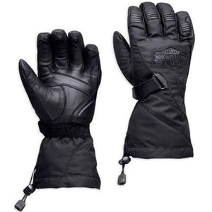 Harley-Davidson™ Mens B&S Waterproof Black Leather Gauntlet Gloves 98305-14VM New
