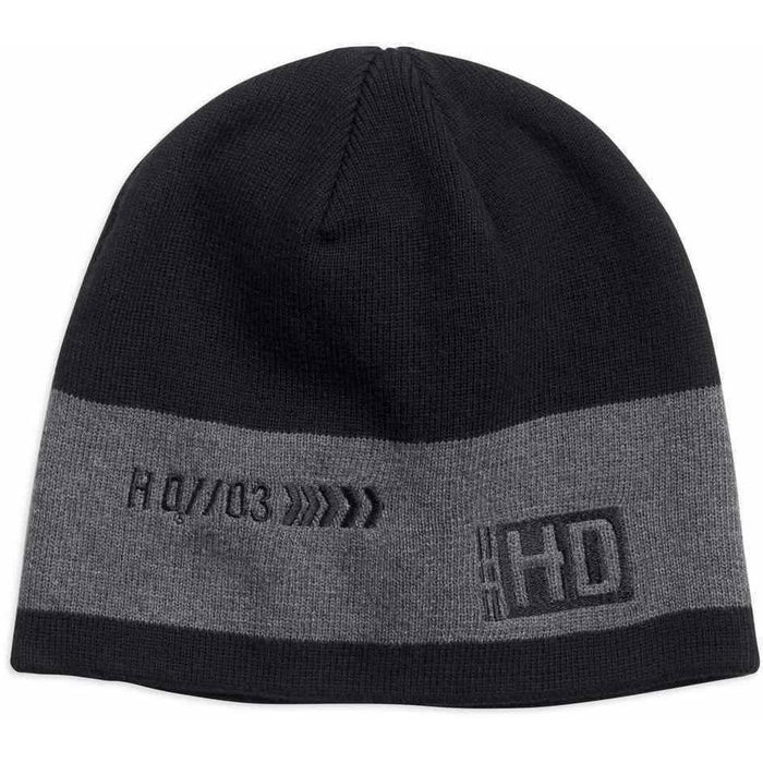 Harley-Davidson™ Men's Contrast Gray Stripe Knit Beanie Hat, Black 97685-18VM