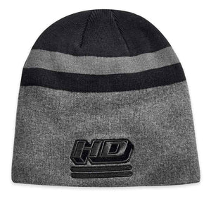 Harley-Davidson Men's Embroidered Knit Stripe Knit Beanie Hat, Black 97816-19VM