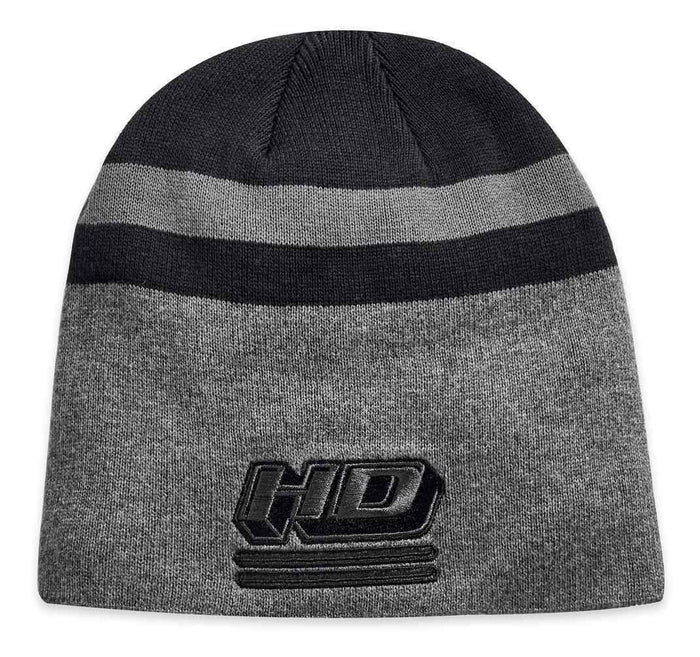 Harley-Davidson® Men's Embroidered Knit Stripe Knit Beanie Hat, Black 97816-19VM
