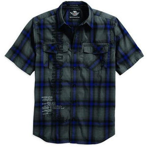 Harley-Davidson™ Men's Heathered Short Sleeve Plaid Woven Shirt, Blue 96452-17VM *CLEARANCE*