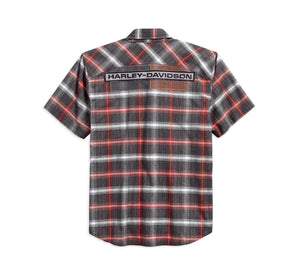 Harley-Davidson Mens High Density Graphic Plaid Woven Shirt 96121-18VM