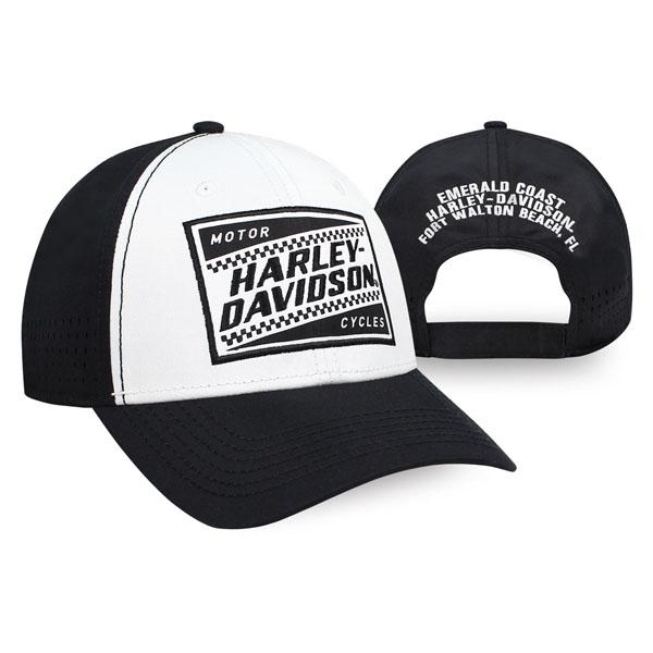Harley-Davidson® Men's Ignition Embroidered Baseball Cap, White & Black BCC33488