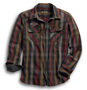 Harley-Davidson Men's Logo Over-Dyed Plaid Slim Fit Shirt - 99012-18VM