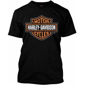 Harley-Davidson™ Men's Orange Bar & Shield Black T-Shirt 30290591