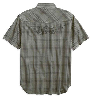 Harley-Davidson Men's Over-Dyed Plaid Short Sleeve Woven Shirt 96540-19VM