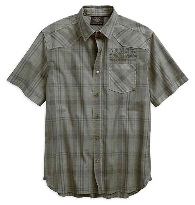Harley-Davidson® Men's Over-Dyed Plaid Short Sleeve Woven Shirt 96540-19VM