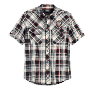 Harley-Davidson Men's Performance Vented Plaid Woven Shirt, White 96548-19VM