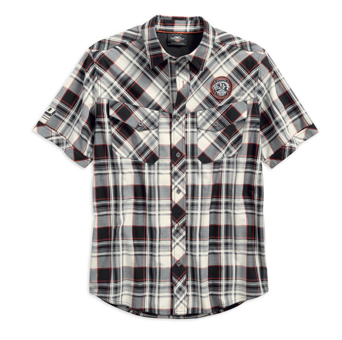 Harley-Davidson® Men's Performance Vented Plaid Woven Shirt, White 96548-19VM