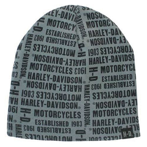 Harley-Davidson™ Men's Repeated H-D Text Knitted Beanie Cap, Gray