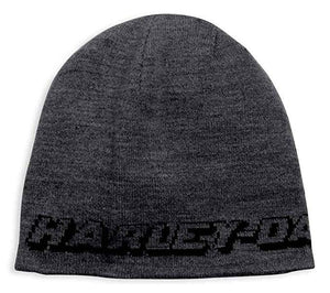 Harley-Davidson Men's Reversible Eagle Patch Knit Beanie Hat, Black 97778-19VM