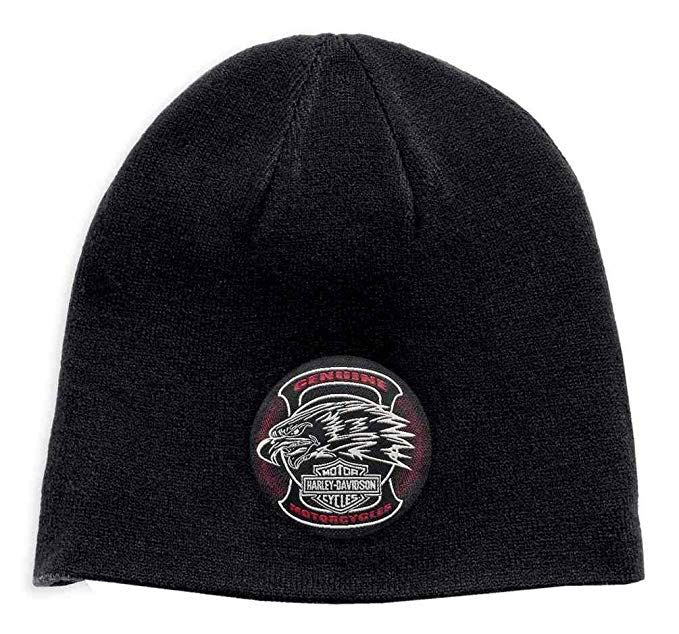 Harley-Davidson® Men's Reversible Eagle Patch Knit Beanie Hat, Black 97778-19VM