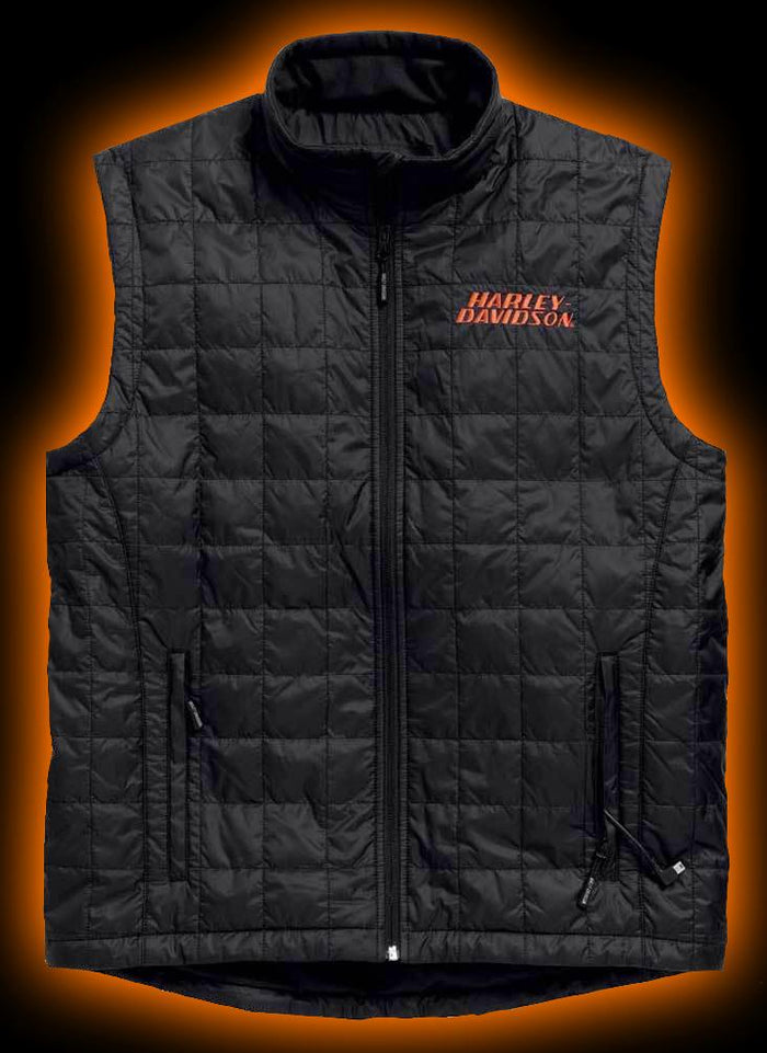 Harley-Davidson® Men's Stimulate Heated 7V Black Motorcycle Vest 98557-15VM