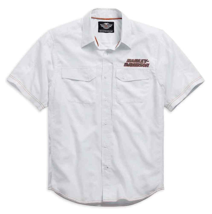 Harley-Davidson® Men's White Short Sleeve Performance Shirt - 99015-15VM