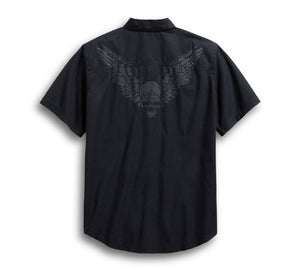 Harley-Davidson Men's Winged Skull Short Sleeve Woven Shirt, Black - 96579-19VM
