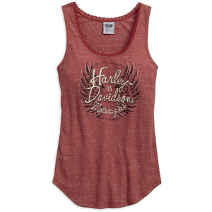 Harley-Davidson™ Wisconsin Women's Flecked Wing Sleeveless Tank Top, Marsala 96154-17VW