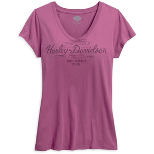 Harley-Davidson™ Women's Black Label Core World Renowned V-Neck Tee - 99180-16VW