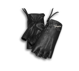 Harley-Davidson Women's Distressed Perforated Fingerless Gloves - 98380-17VW