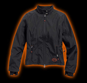 Harley-Davidson™ Womens Heated Soft Shell w/Battery Riding Jacket. 98560-15VW