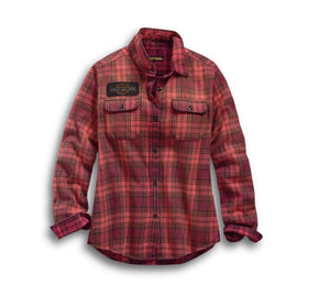 Harley-Davidson Women's Laser Cut Logo Plaid Shirt - 99123-19VW