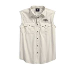 Harley-Davidson® Men's Americana Sleeveless Blowout Shirt, Off-White 96185-18VM