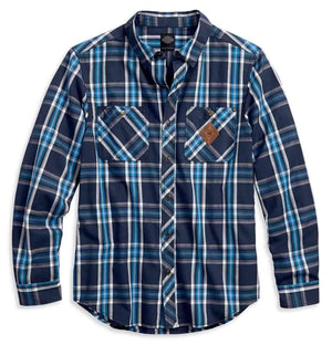 Harley-Davidson® Men's Large Plaid Button Front Shirt, Blue 99038-17VM
