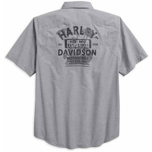 Harley-Davidson® Men's Microstripe Short Sleeve Garage Shirt, Gray 96419-18VM
