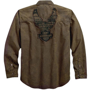 Harley-Davidson® Men's Washed Canvas Shirt | Long Sleeves - 96412-18VM