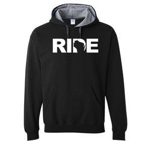 Ride Brand™ Wisconsin Logo Classic Contrast Hoodie Black/Gray