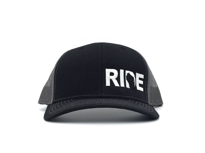 Ride Brand™ Wisconsin Logo Night Out Trucker Snapback Hat Black/White