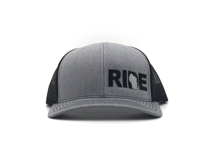 Ride Brand™ Wisconsin Logo Night Out Trucker Snapback Hat Gray/Black