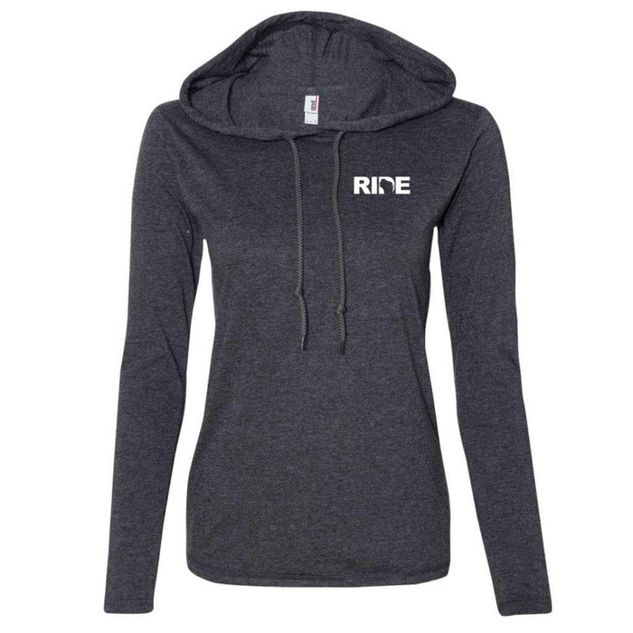 Ride Brand™ Wisconsin Logo Womens Lightweight Long Sleeve Hooded T-Shirt Heather Dark Gray/Dark Gray
