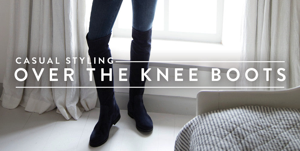 Wide calf navy OTK boots for Fall; OOTD