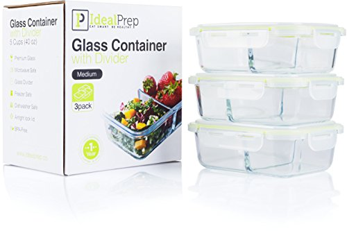 Glass Meal Prep Food Storage Containers Set – 2 Compartment Dishes with Extra High Divider - BPA Free, Microwavable, Perfect Portion Control Lunch Boxes - Comparable to Tupperware - 3 Pack, Medium