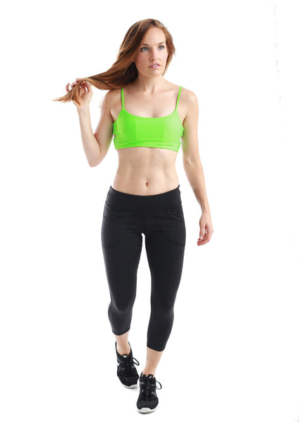 Gecko Hot Yoga Quick Dry Pocket Bralette Neon Green