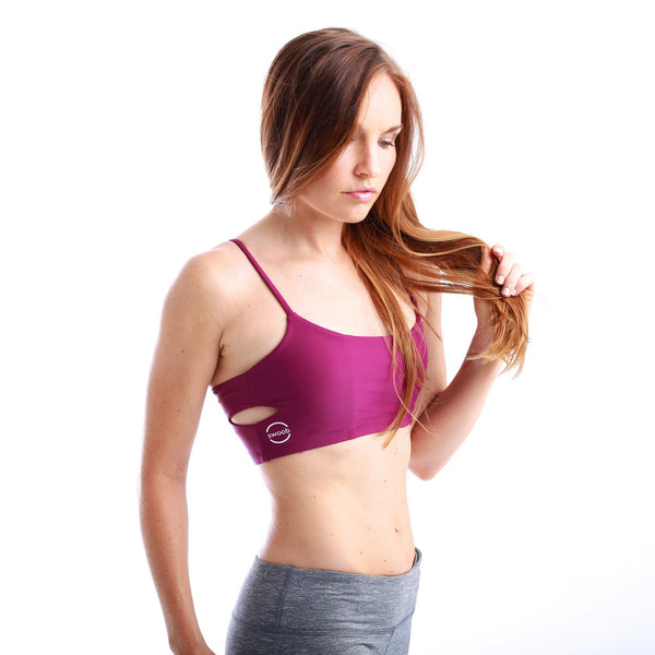 Gecko Hot Yoga Quick Dry Crop Top Bralette Plum