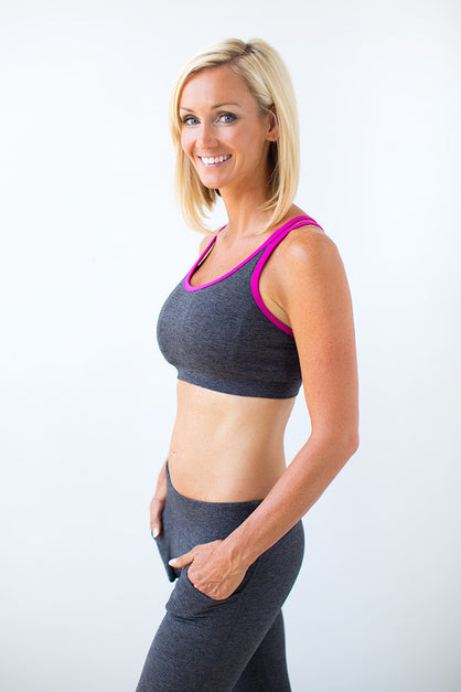 Piranha Cross-Strap Pocket Sports Bra Charcoal and Fuchsia - SwoobFit