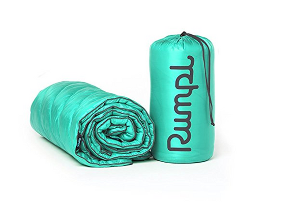 "Rumpl High Performance Indoor/Outdoor Synthetic Puffy Down Blanket, Twin (60"" x 80""), Seafoam / Charcoal"