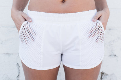 LA Boxing Shorts White - SwoobFit