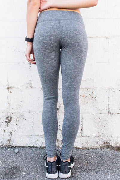 Full Length Yoga Leggings Heather Gray - SwoobFit