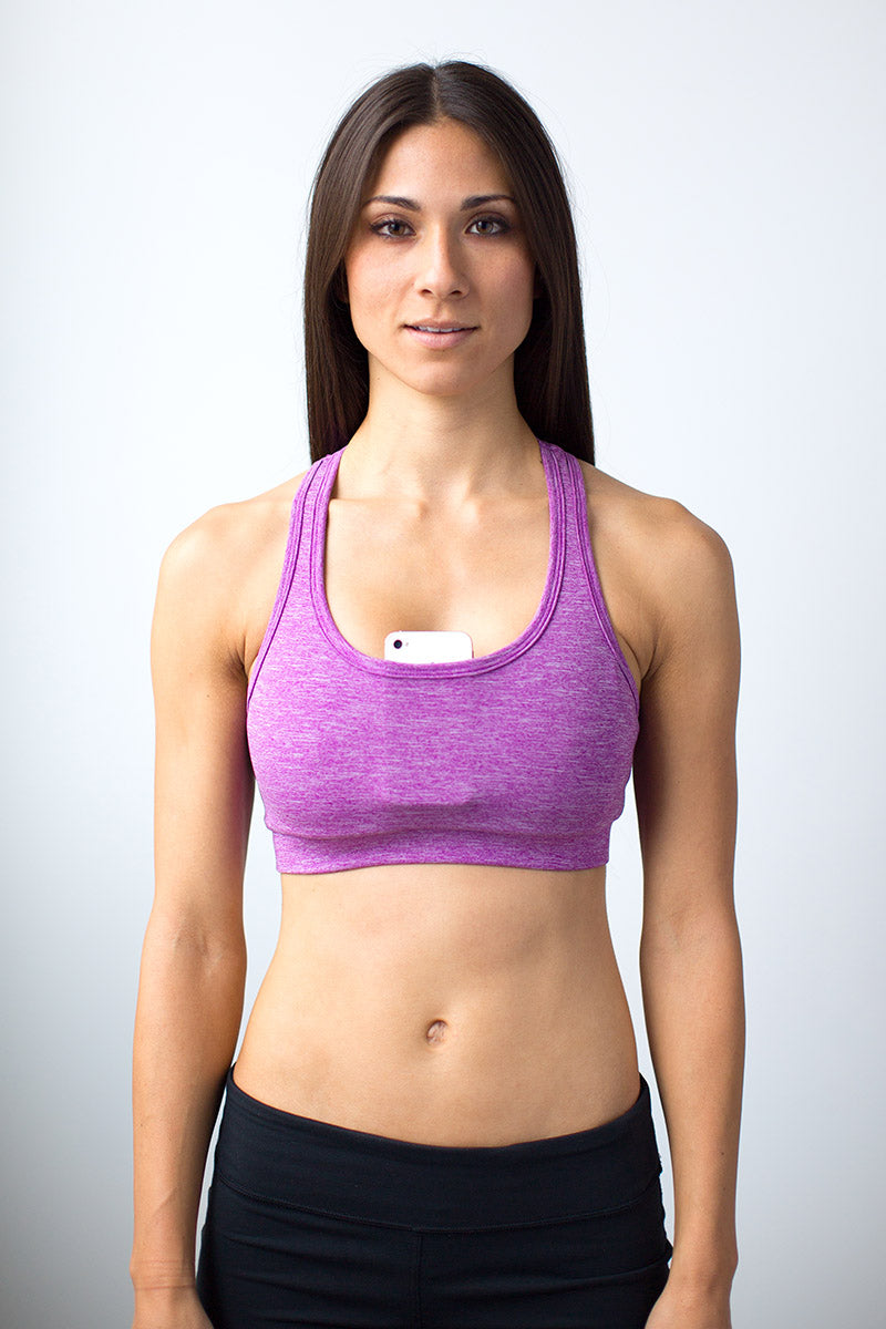 f5e3e595bea Idona Racerback Sports Bra With Pockets Electric Orchid